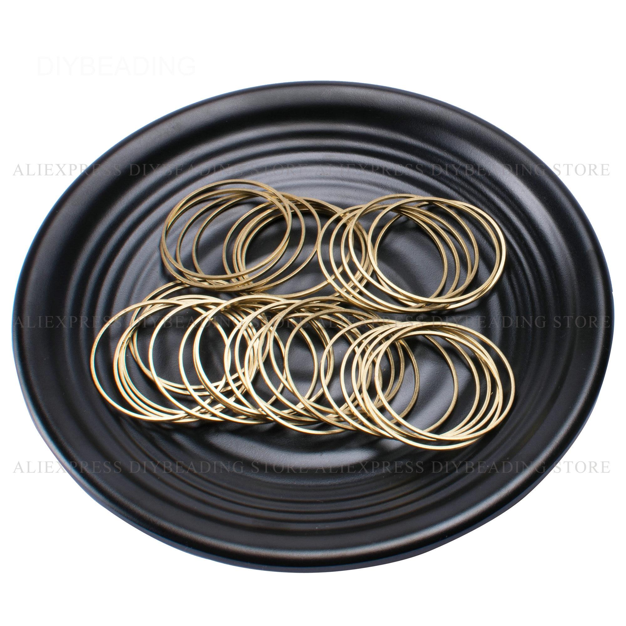 Латунные круглые кольца для изготовления сережек, 10/15/20/25/30/35/40/45/50 мм, 100 шт.