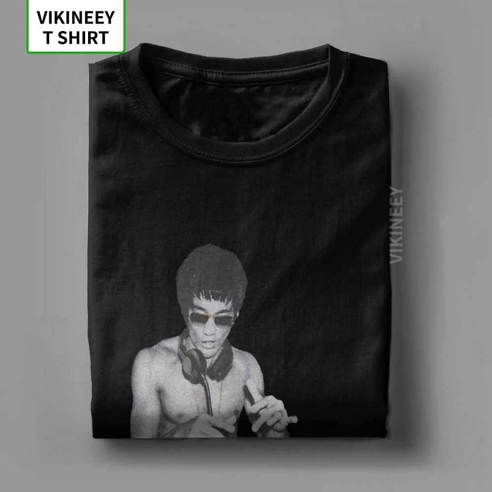 DJ Lee Bruce Lee T Shirt männer Baumwolle Freizeit T-Shirts Drachen Film Kung Fu Brusli Karate China T Hemd spaß Top Kleidung