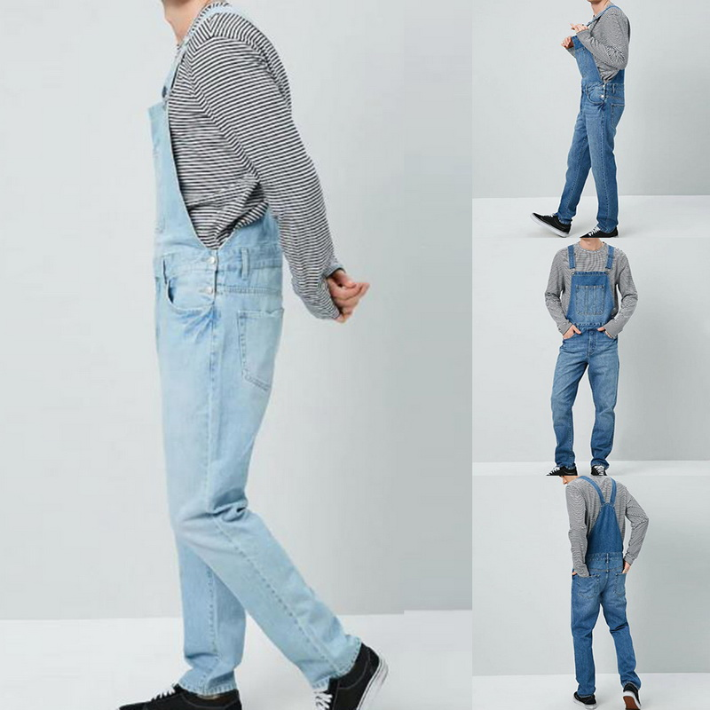 Vintage Denim Overalls Men Solid Slim One Piece Full Length   Jeans   Casual Straight   Jeans   Button Strap Pant Pockets Pantalon Homme