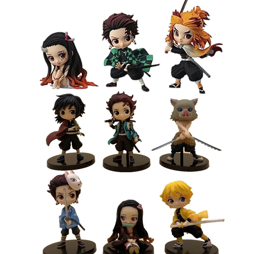 Demon Slayer Action Figures Nezuko Zenitsu Tanjirou Giyuu Inosuke Kyoujurou Q Ver Kimetsu No Yaiba Anime Figurine PVC Toy Set