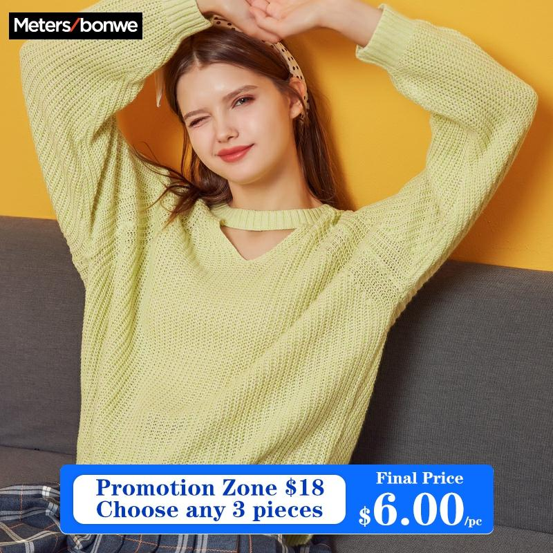 Metersbonwe  Knitted Sweater Women Pullovers V neck Autumn Winter Women Mix Colour Sweaters Korean Style Loose Fit 1