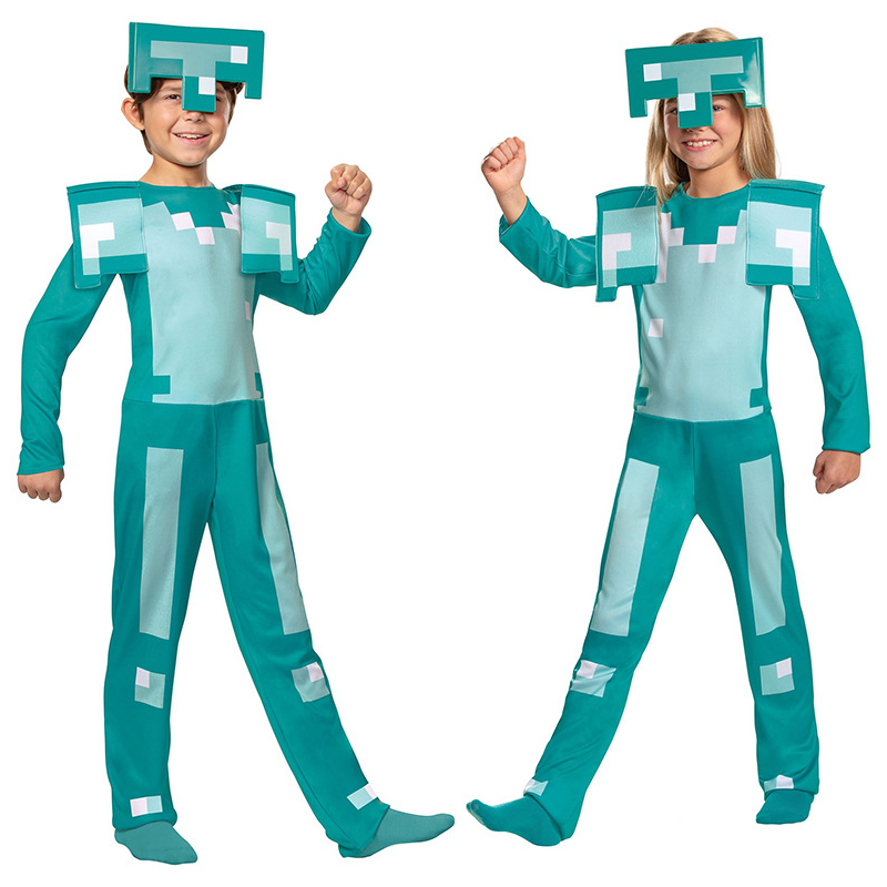Kids Diamond Armor Costume Jumpsuit Headpiece Lattice Suit Game Cosplay Halloween Girls Boys Clothing C42A11