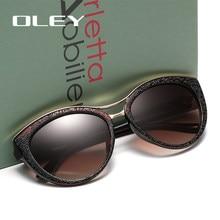 Oley óculos de sol feminino polarizado, óculos de sol feminino estilo olho de gato, polarizado, alta qualidade