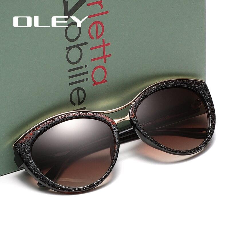 Oley alta qualidade óculos de sol olho de gato das mulheres marca designer óculos polarizados para a mulher óculos de condução gafas zonnebril dames