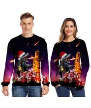 Christmas 3d round neck sweater funny dinosaur monster pattern print long sleeve men women wear lovers цены