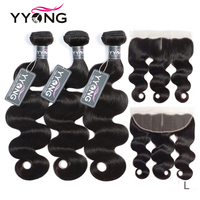 Yyong Malaysian Body Wave 3 Or 4 Bundles With Frontal Human Hair Weave Bundle 13x4 Ear To Ear Lace Frontal With Bundles Remy