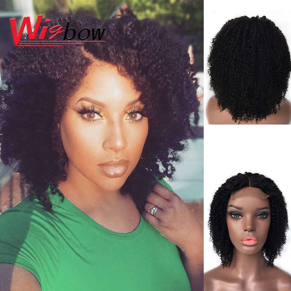 10 Inch Short Curly Wigs 4x4 Closure Afro Kinky Curly Wig Remy Hair Ombre 1B30 99j Curly Brazilian Human Hair Wigs For Women