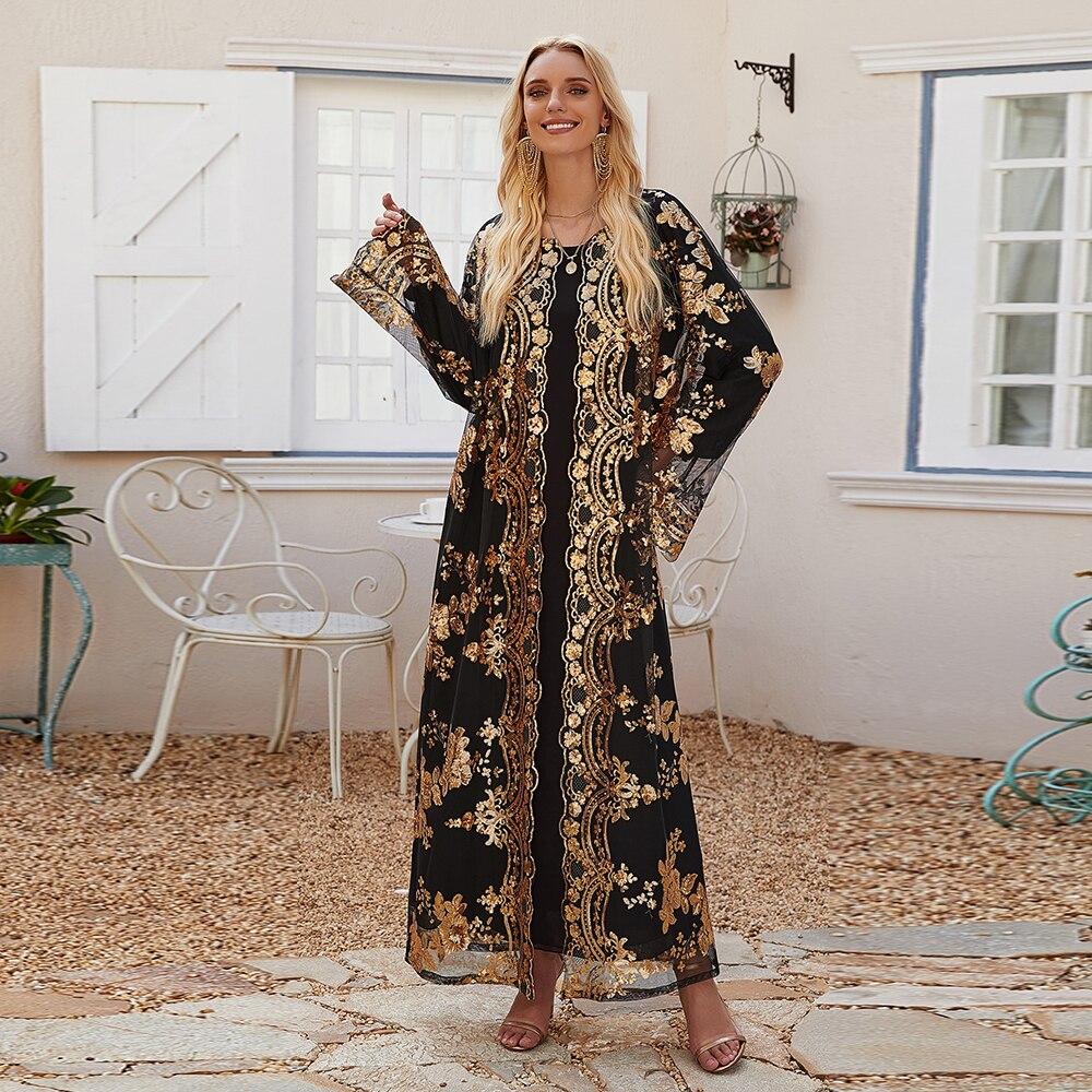 Eid Mubarak Embroidery Sequin Abaya Turkey Kimono Cardigan Muslim Hijab Dress Islam Abayas For Women Robe Ete Dubai Kaftan Mujer