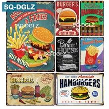 [SQ-DGLZ] hamburguesas y patatas fritas signo de Metal decoración de paredes para Bar signo de estaño signos de Metal Vintage decoración del hogar pintura placas de arte Poster