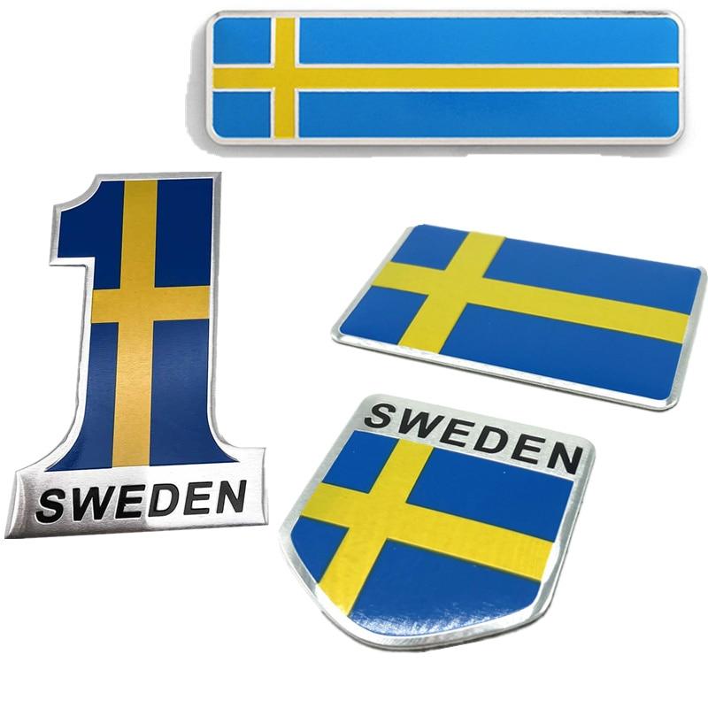 3D Aluminium Schweden Flagge Auto Styling Aufkleber Emblem Aufkleber Abzeichen SE Autos Körper Fenster Auto Tür für Volvo V70 XC60 s60 V60 V40