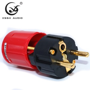 Image 3 - Yivosound HIFI power stecker EU UNS Gold Überzogene Messing Rot Reinem Kupfer Schuko IEC AC power stecker Stecker für power schnur