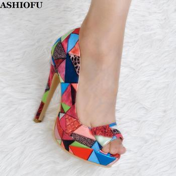 ASHIOFU New Handmade Ladies High Heel Pumps Peep-toe Slip-on Party Prom Dress Shoes Platform Evening Multicolored Fashion Shoes