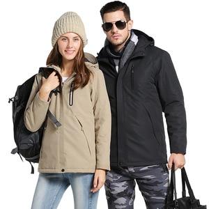 Image 3 - Winter USB Infrared Heating Jackets Men Women Outdoor Windproof Waterproof Windbreaker Fleece Casual Hooded Coat Mens Clothes