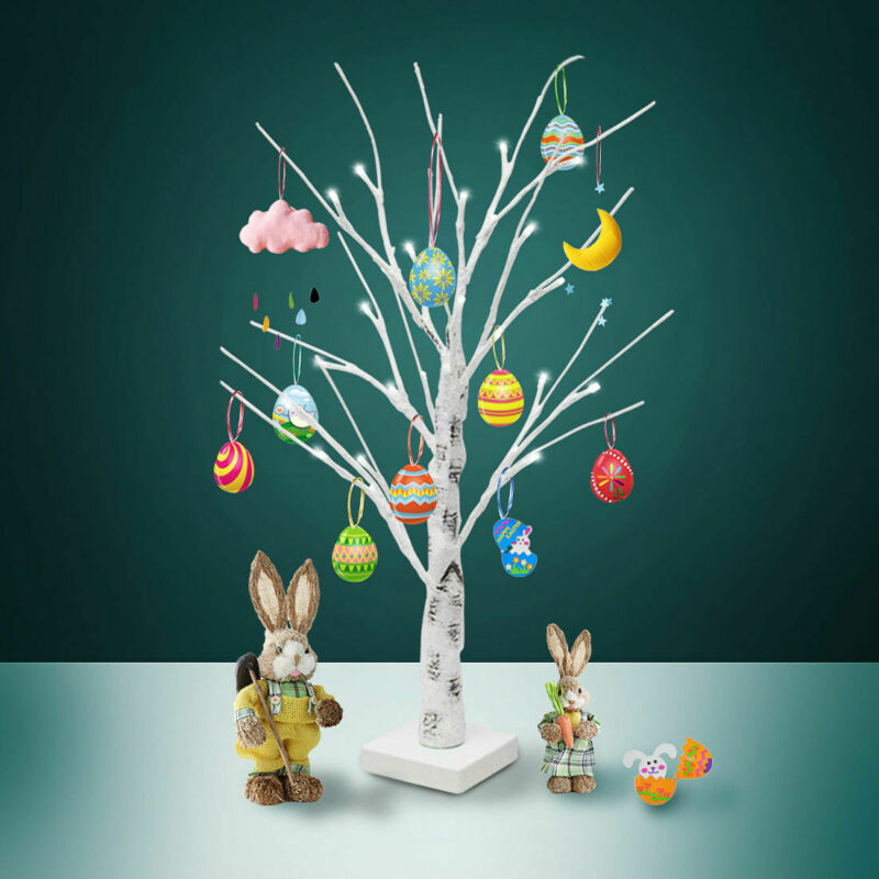 Пасхальное дерево высотой 60 см с 24 светодиодами, белый свет, мини-светильник в виде веточки, украшения для подвешивания пасхальных яиц, подв...