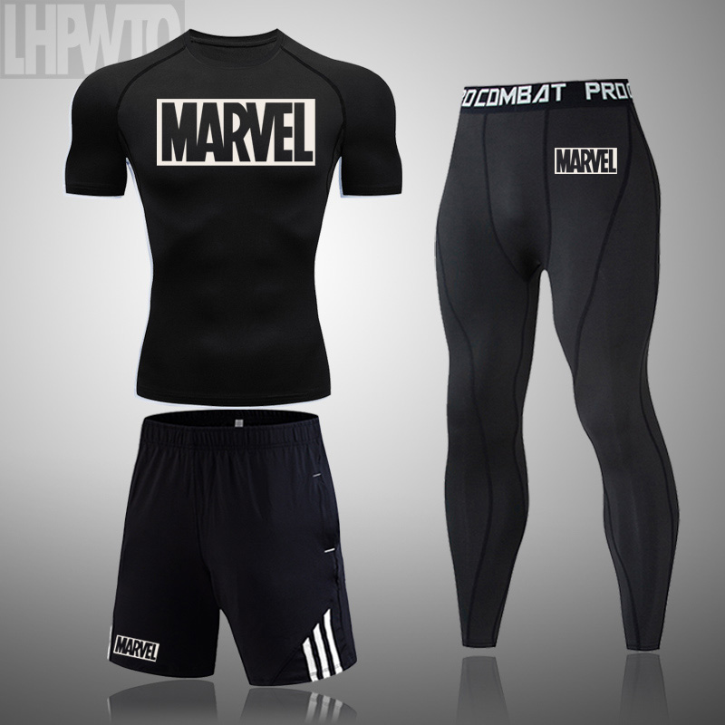 3Pcs Set MARVEL Men s T-shirt Gym Fitness Compression Sports Suit Clothes Running Jogging Sport Wear Tight Quick Dry Running set