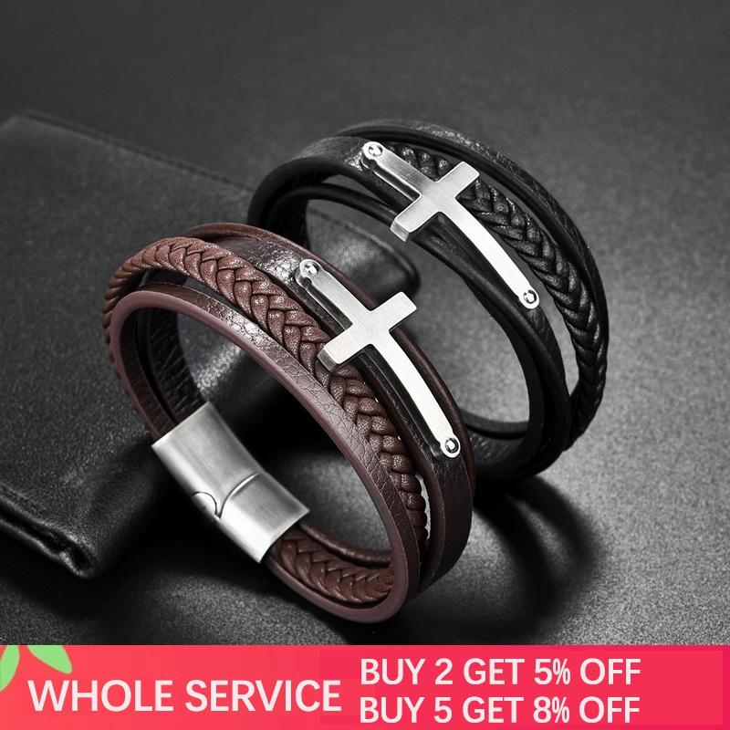 Jiayiqi Cross Style Multi Layer Genuine Leather Bracelet Stainless Steel Charm Bangle Magnetic Clasp Black Bracelets Men Jewelry