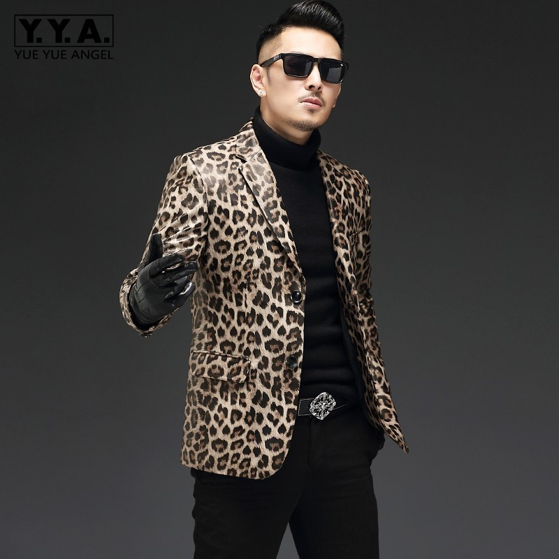 Top Brand Fashion Leopard Mens Genuine Leather Blazers Punk Style Plus Size Male Long Sleeve Single Breasted Slim Fit Blazers