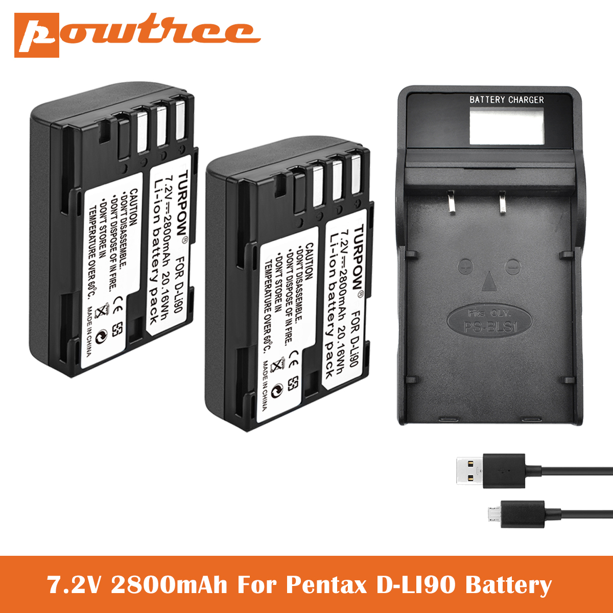 <font><b>7</b></font>.2V <font><b>2800mAh</b></font> D-Li109 Li-ion Battery+Charger for Pentax K-1 DSLR, K-01, K-<font><b>3</b></font>, K-<font><b>3</b></font> II, K-5, K-5 II, K-5 IIs, K-<font><b>7</b></font>,SLR 645D Digital image
