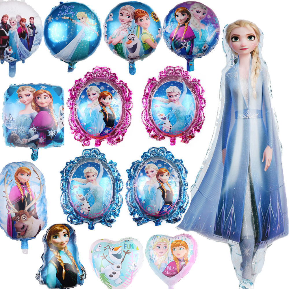 Frozen elsa anna balão meninas chuveiro do bebê crianças festa de aniversário decoração princesa dupla face balão de folha de alumínio balões