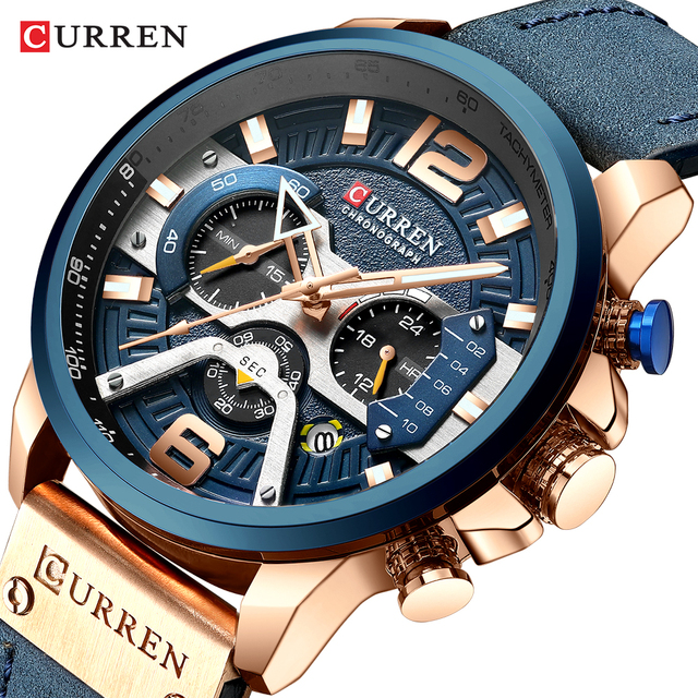 CURREN Relógio Mens Relógios Top Marca de Luxo Cronógrafo Dos Homens Do Esporte Dos Homens Casuais de Couro À Prova D Água Relógio de Quartzo Relogio masculino
