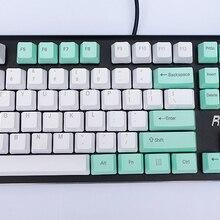 OEM PBT Layout Mx-Mechanical-Keyboard Keycaps 87-Keys NPKC White-Mint-Green ANSI Option
