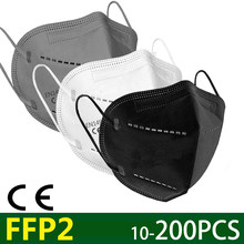 Masque facial KN95 FFP2, 5 à 200 pièces, avec filtre anti-poussière, avec ventilation