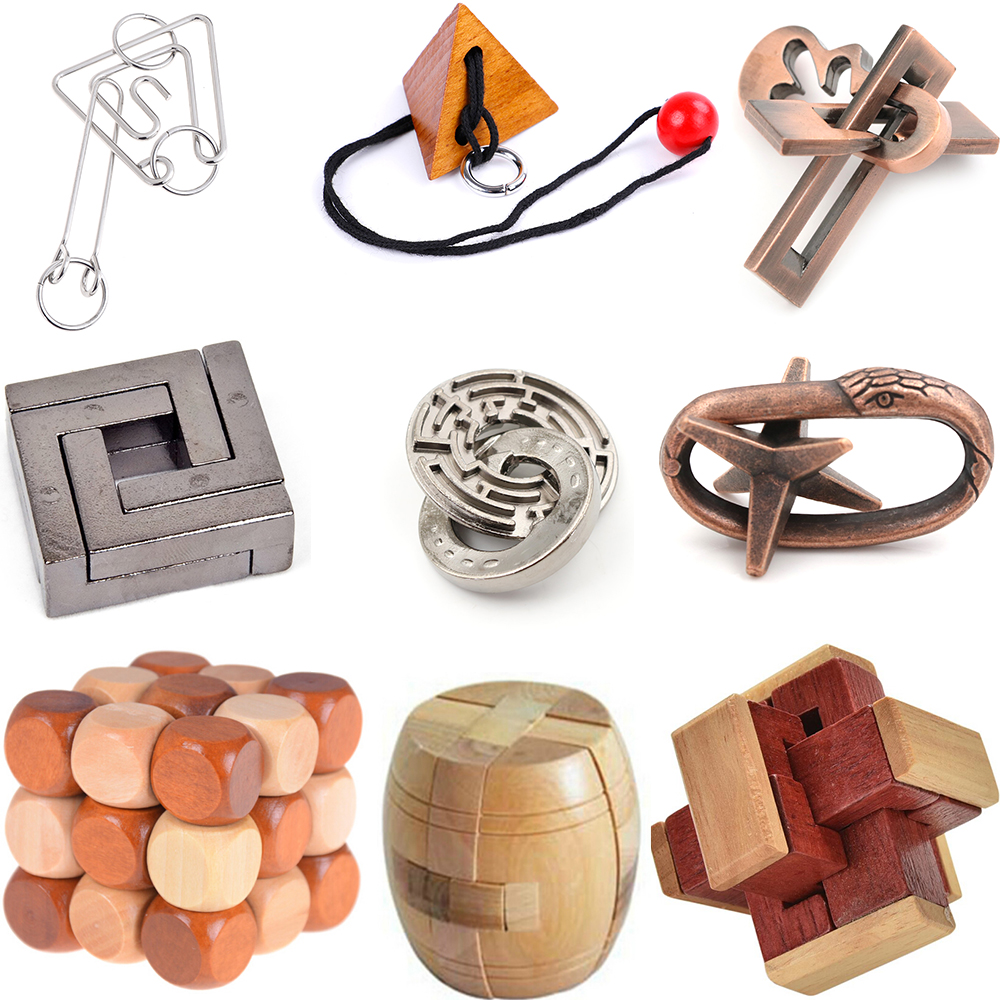 IQ 3D Metal Wooden Unlocked Maze Puzzle Mind Brain Teaser Interlocking Burr Puzzles Game For Adults Children Kids Classic Toys