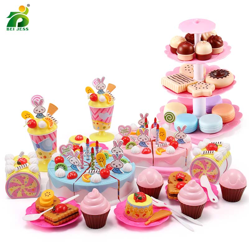 110Pcs Kitchen Toys Girls Birthday Cake Set Children DIY Pretend Play Plastic Miniature Food Educational For Kid's Kitchen Gifts