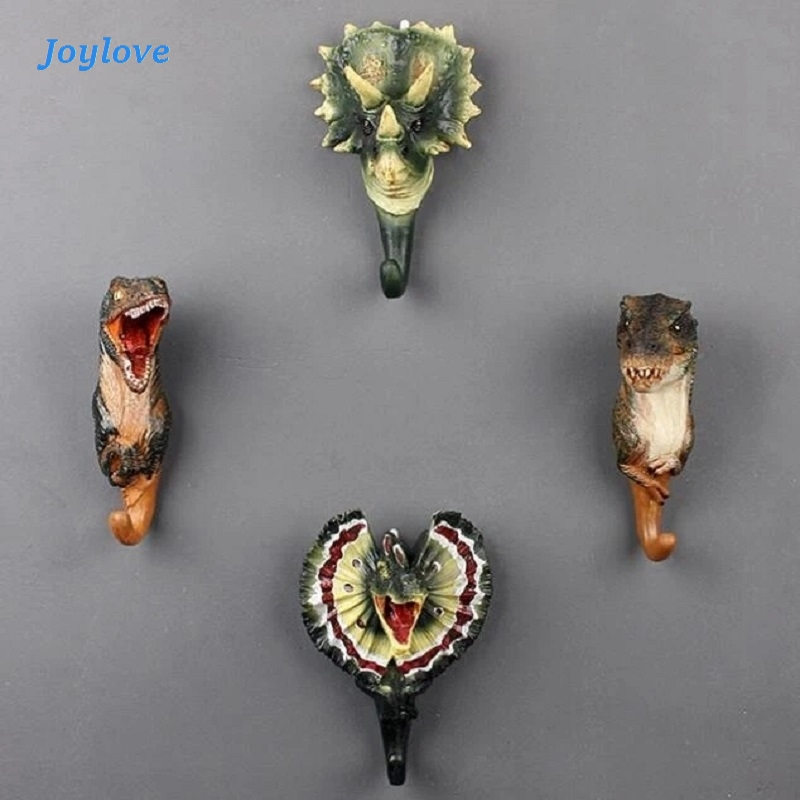 JOYLOVE Jurassic Dinosaur Head Resin Coat Wall Hanging Hook Creative Resin Animal Model Dinosaur Wall Hanging Cap Clothes Hook