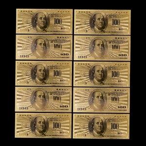 10 шт., Реплика США, 100 долларовая Золотая банкнота, купюр, бумажная монета, медаль 24 К, памятная карта США