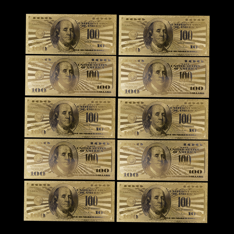 10pcs replica USA 100 Dollar Gold Banknote Currency Bill Paper Money Coin Medal 24k United States OF America Commemorative image