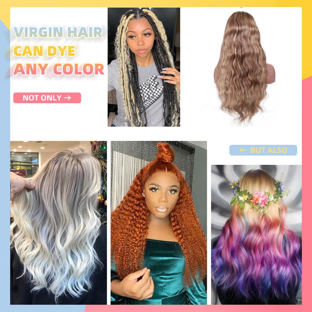 Ombre Colored Lace Front Human Hair Wigs Brazilian Virgin Body Wave 13x4 Lace Front Wig Pre Plucked 150% Glueless Wig WoWEbony