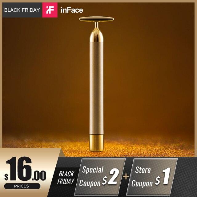 InFace זהב יופי בר זהב מצופה עיסוי ראש אקופרסורה להדק עור עיסוי יבוא IPX7 עמיד למים מקל