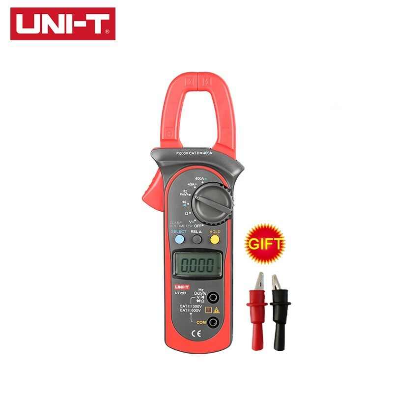 UNI-T UT201 UT202 UT202A UT203 UT204 UT204A AC DC Digital Clamp Meters With Temperature Test Auto Range 600V Voltage Multimeter