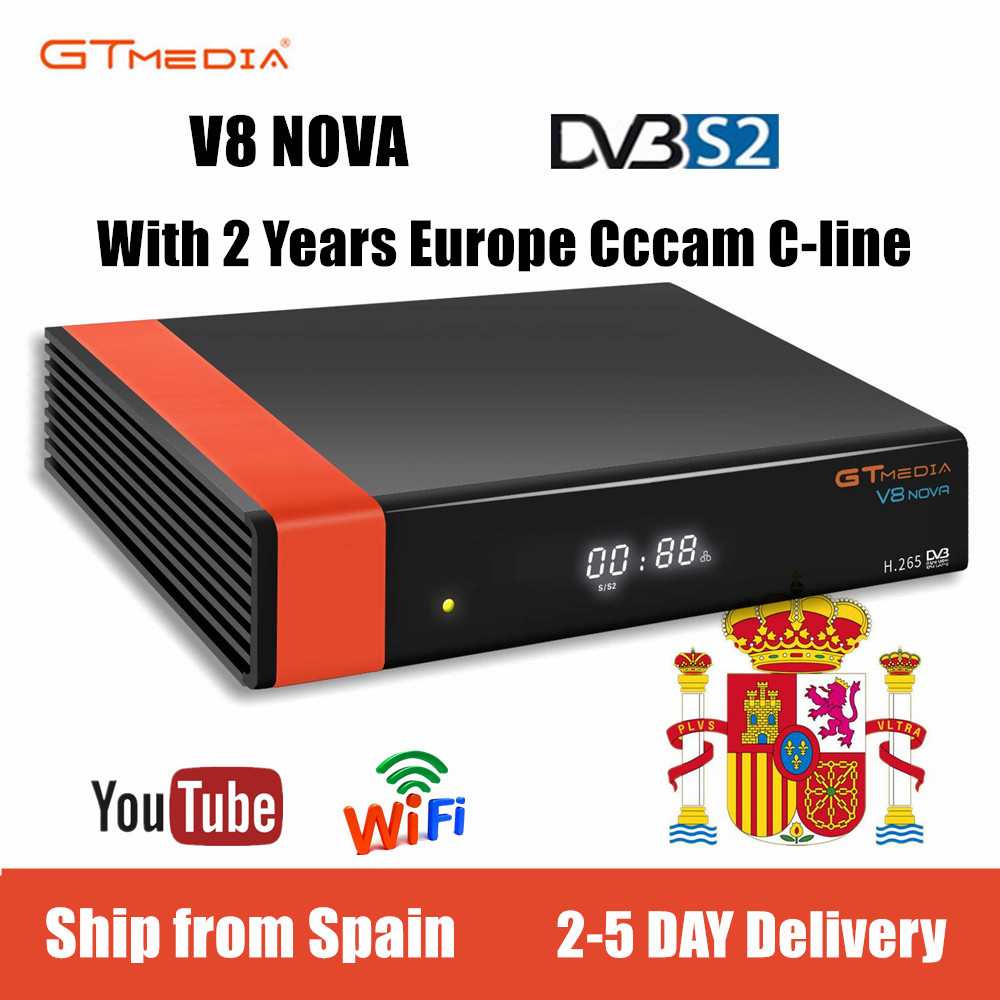 GTMEDIA V8 Nova DVB-S2 Freesat Satellite TV Receiver FTA Decoder With 2year Cccam Clines Support Biss Key Newcam IPTV Ship Spain