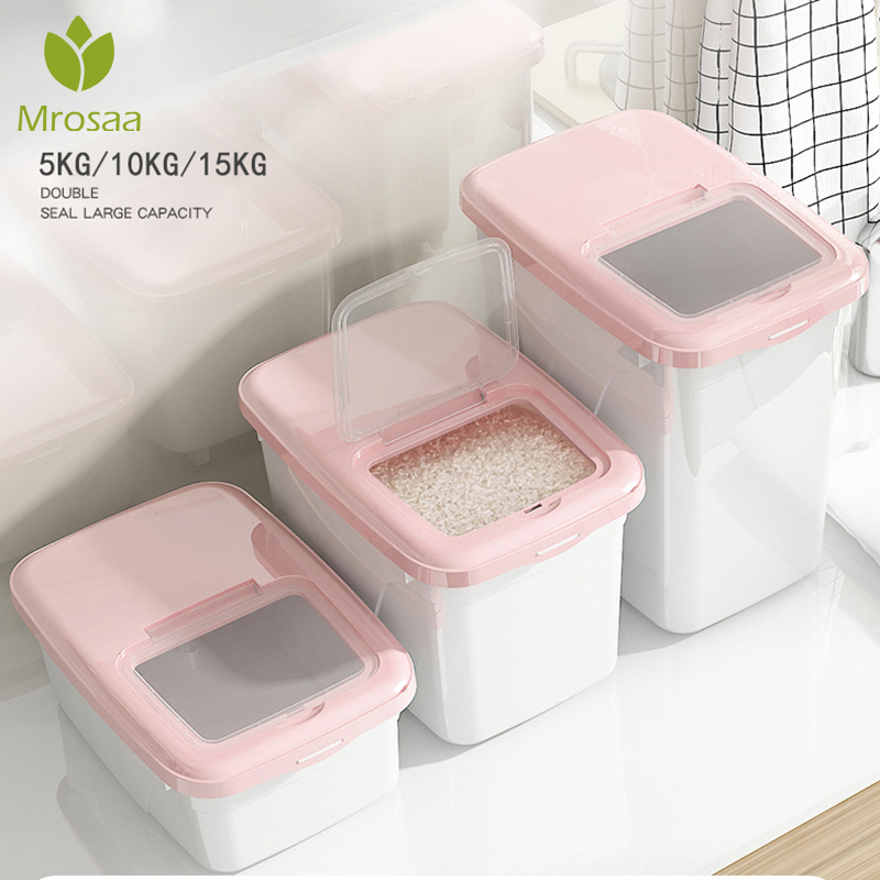 5/10/15Kg Rice Storage Box Sealed Moisture-proof Large Capacity Grain Flour Flip Container Kitchen Double Seal Rice Storage Box