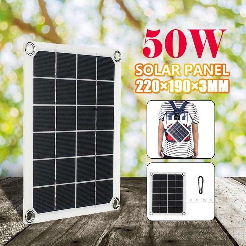 50w painel solar portátil dupla usb 5v 2a carregador de bateria placa de célula solar carregador de carro para o telefone rv carro barco iate acampamento|Células solares|   -