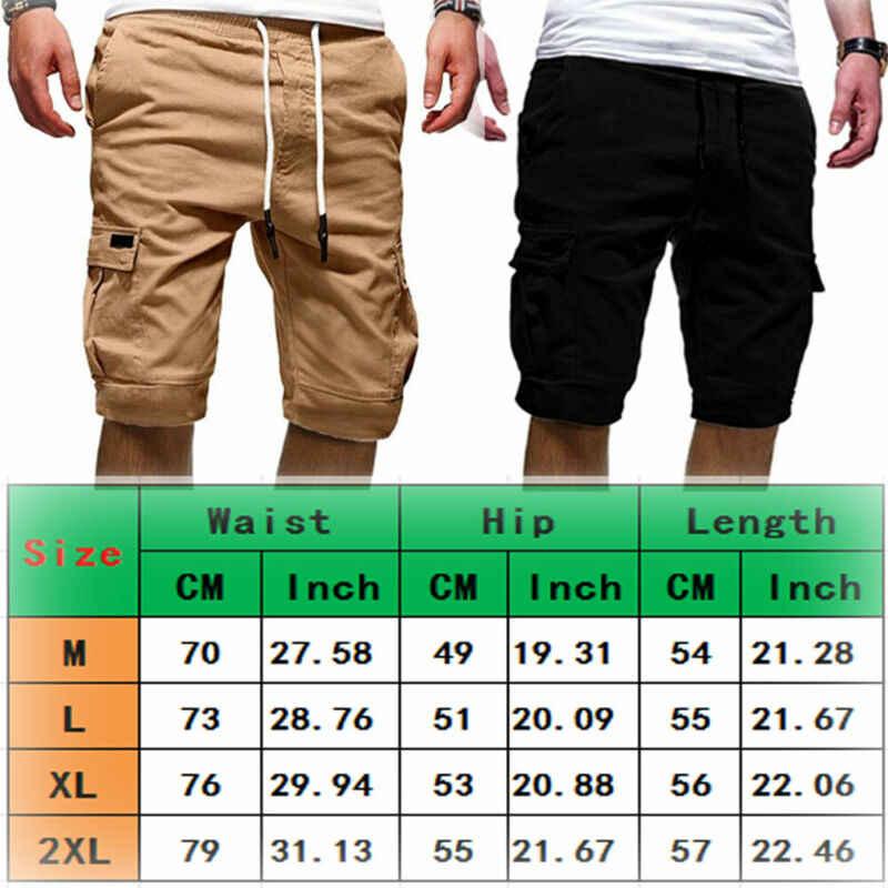 ฤดูร้อนผู้ชายสบายๆกางเกงขาสั้น Baggy Gym กีฬา Jogger Elastic เอวกระเป๋าเข่า-ความยาวกางเกงขาสั้นสีดำสีเขียวสีขาวสีกากีสีเทา