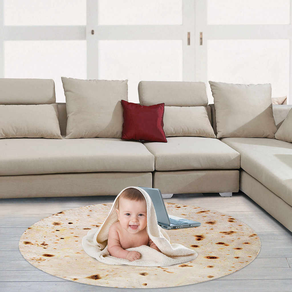 180cm 컴포트 푸드 크리 에이 티브 Burrito Wrap 참신 담요 완벽하게 둥근 토틸라 홈 인테리어 웨어러블 매트 따뜻한 부드러운 목도리