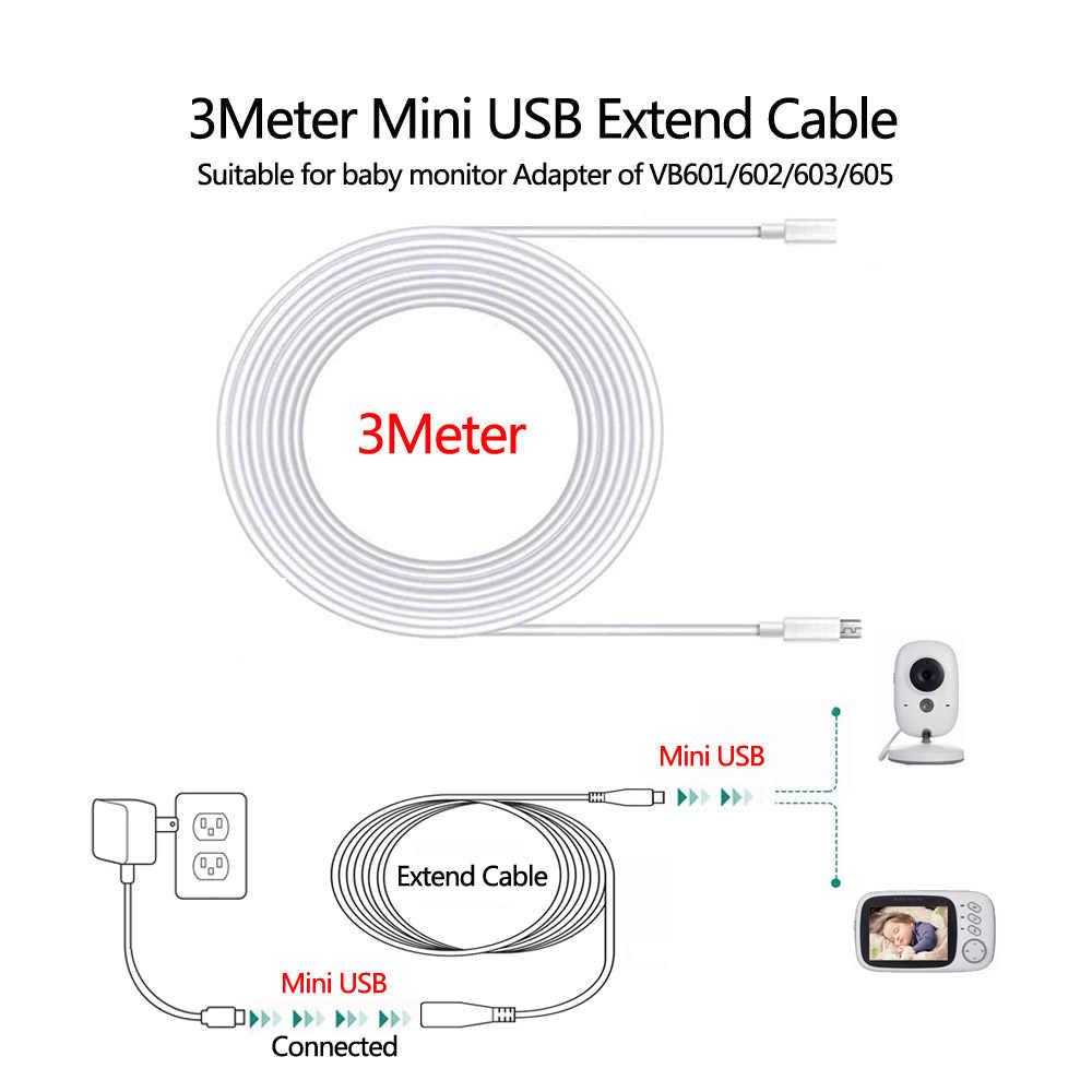 Extensión 3 M Cable De Alimentación Cargador Cable Negro para Levana Alexa Cámara Monitor de bebé