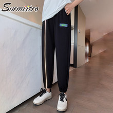 SURMIITRO Reflective Line Women Sweatpants 2021 Spring Fashion Korean Ankle Length High Waist Sports Harem Pants Women Trousers