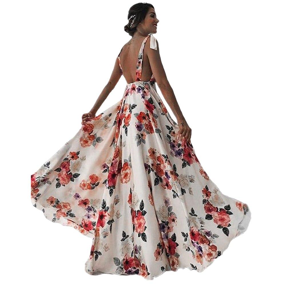 Женское платье с цветочным принтом, Длинное свободное платье без рукавов с V-образным вырезом