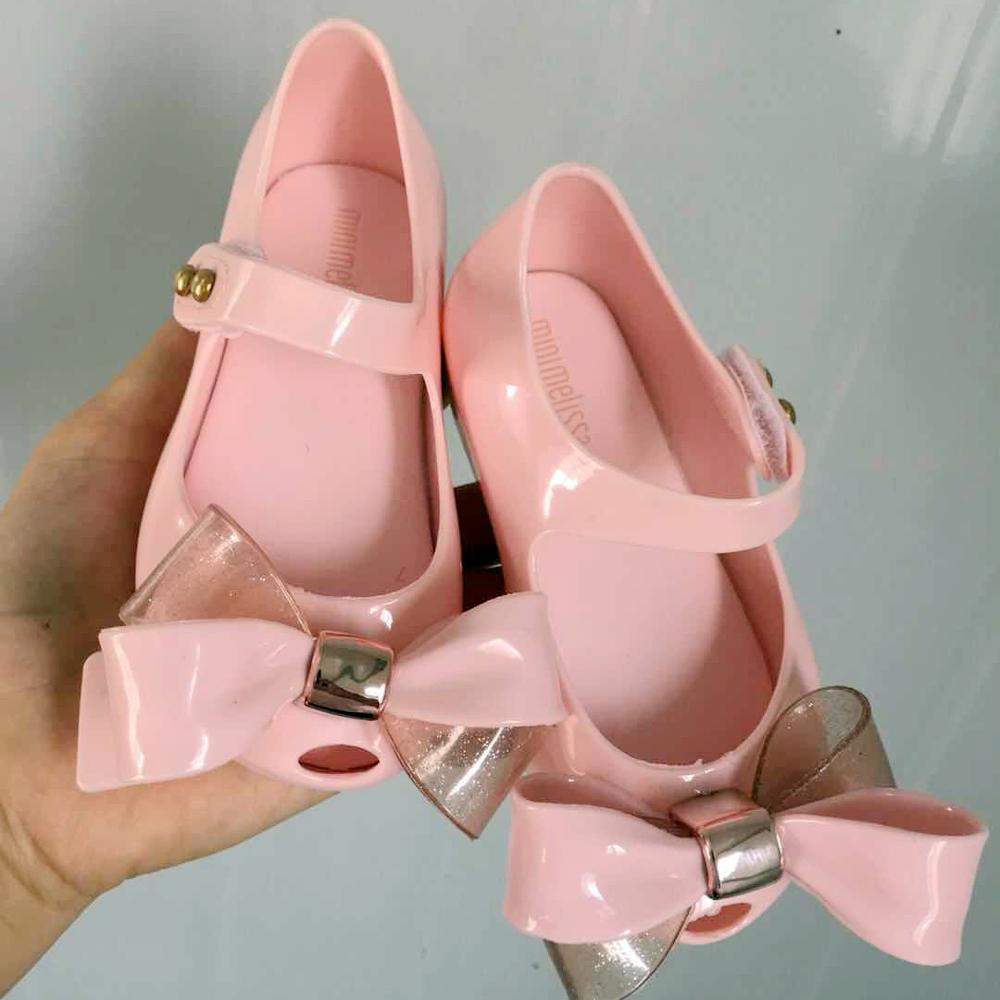 Mini Melissa Sweet Kids Girl Jelly Shoes Fashion Children's PVC Candy Shoes Gilrs Sparkle Princess Bowknot Sandals MN010