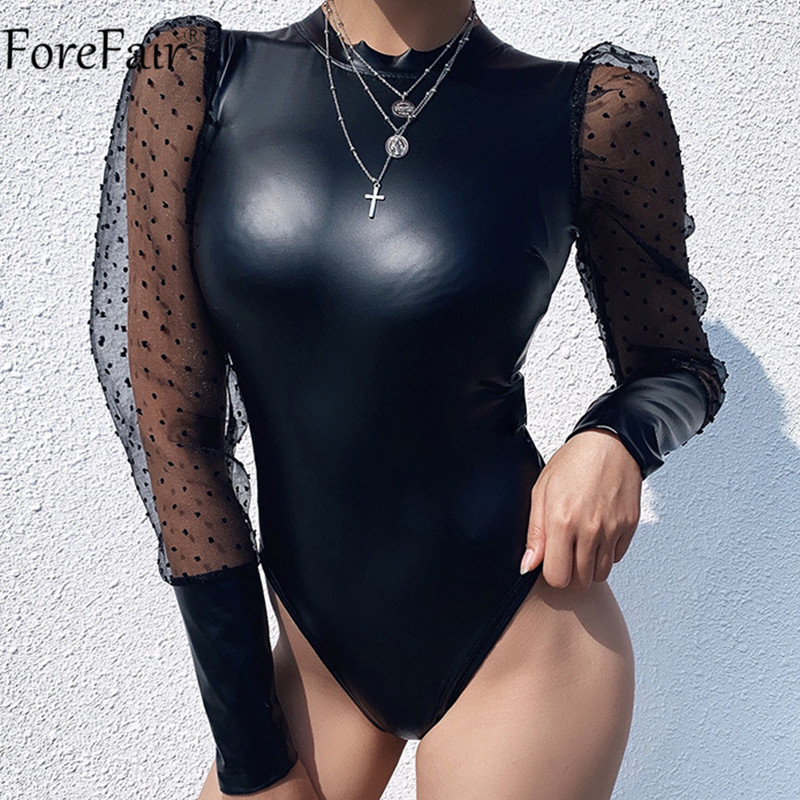 Forefair PU Leather Bodysuit Black Long Sleeve Mesh Patchwork Body Top Ladies Sexy Casual Women Bodysuit Polka Dot