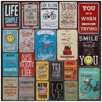 Vintage Metal Retro Stickers Tin Tin Plaque Tin Signs Love Smile Life Happy Sign Poster Plate Painting Wall Decoration