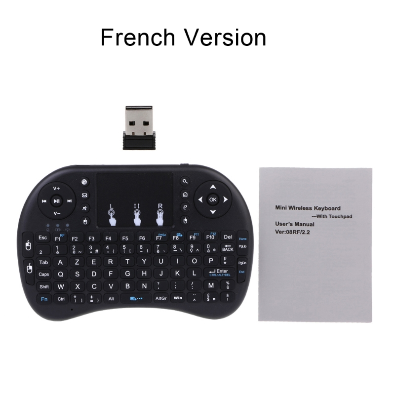 French i8 Air Mouse Wireless Keyboard with Touchpad for Android TV Box /& Smart TV /& PC Tablet /& Xbox360 /& PS3 /& HTPC//IPTV Innovativ Russian i8 air mouse wireless keyboard with touchp Support Language