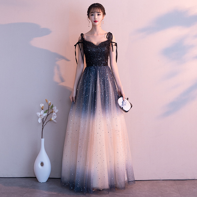 Chinese Style Evening Dress Sexy Slim Sling  Sequins Tassel Gradient Mesh Dress Improved Cheongsam  Vestidos Size S-3XL