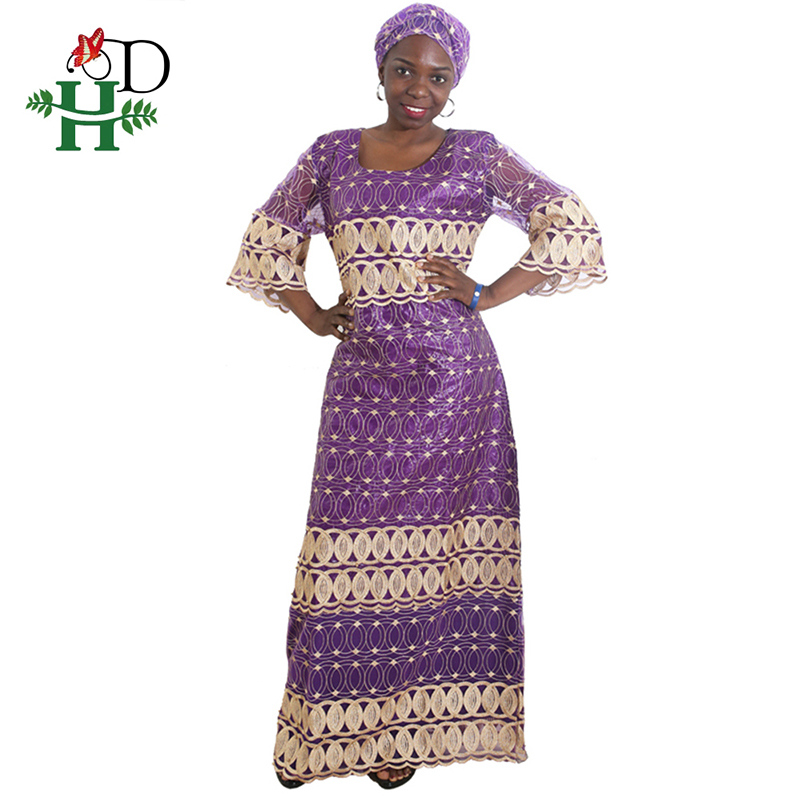H&D Dashiki African Dresses For Women Plus Size Lace Dress With Head Tie Embroidered Traditional African Ladies Dresses Turban