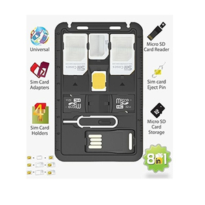 All in 1 Universal Mini SIM Card Adapter Storage Case Kits with TF card reader & SIM Card Tray Eject Pin, SIM Card holder