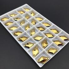 Золото гематит цвет 20 шт 11x19 мм Ромб пришить горный хрусталь